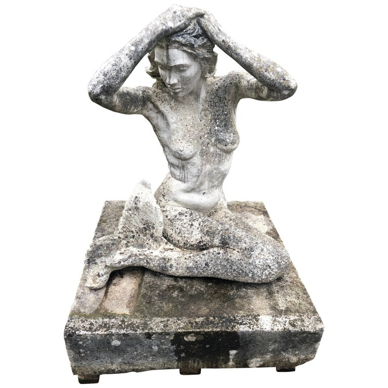 Life-Sized English Cast Stone Statue of a Mermaid Atop a Carved Stone Base For Sale