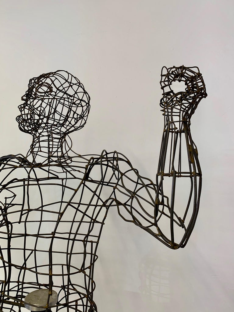 Life-Sized Figural Wire Sculpture by Bruce Gray For Sale 7