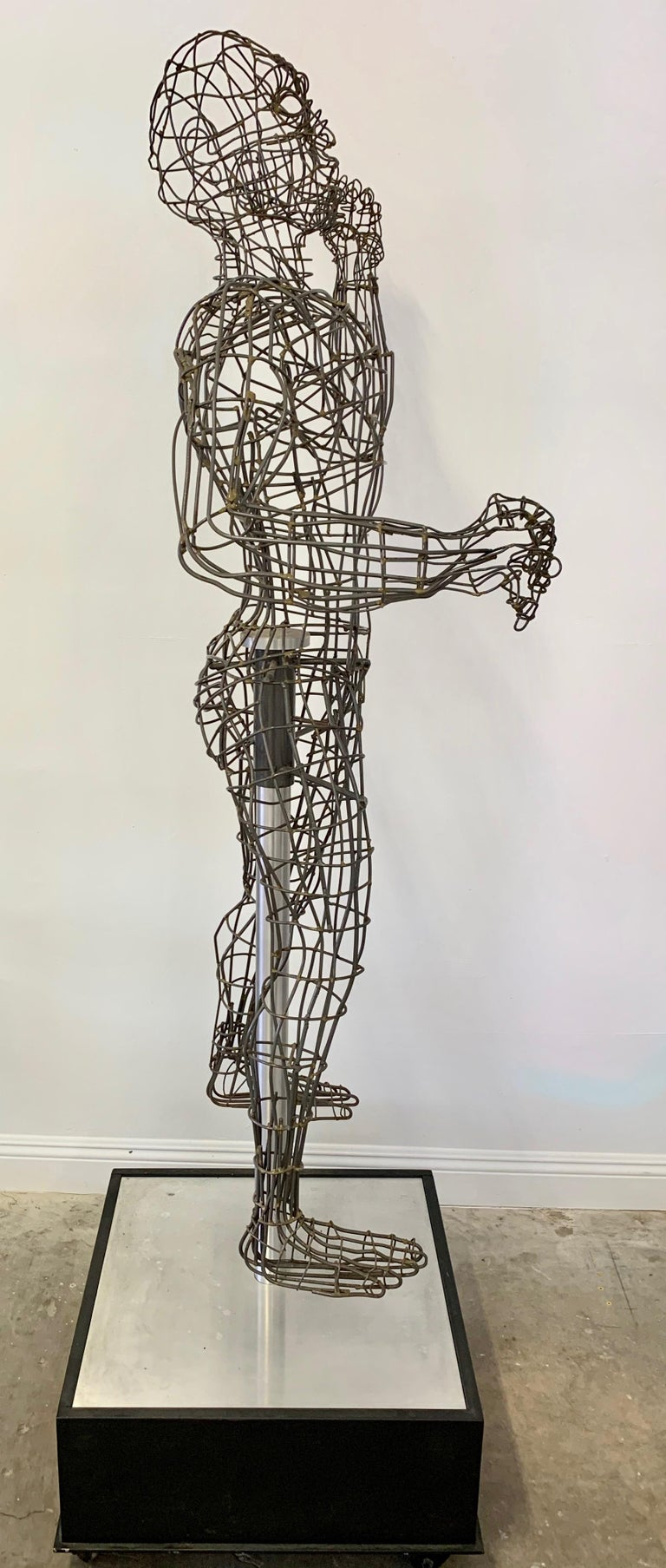 American Life-Sized Figural Wire Sculpture by Bruce Gray For Sale