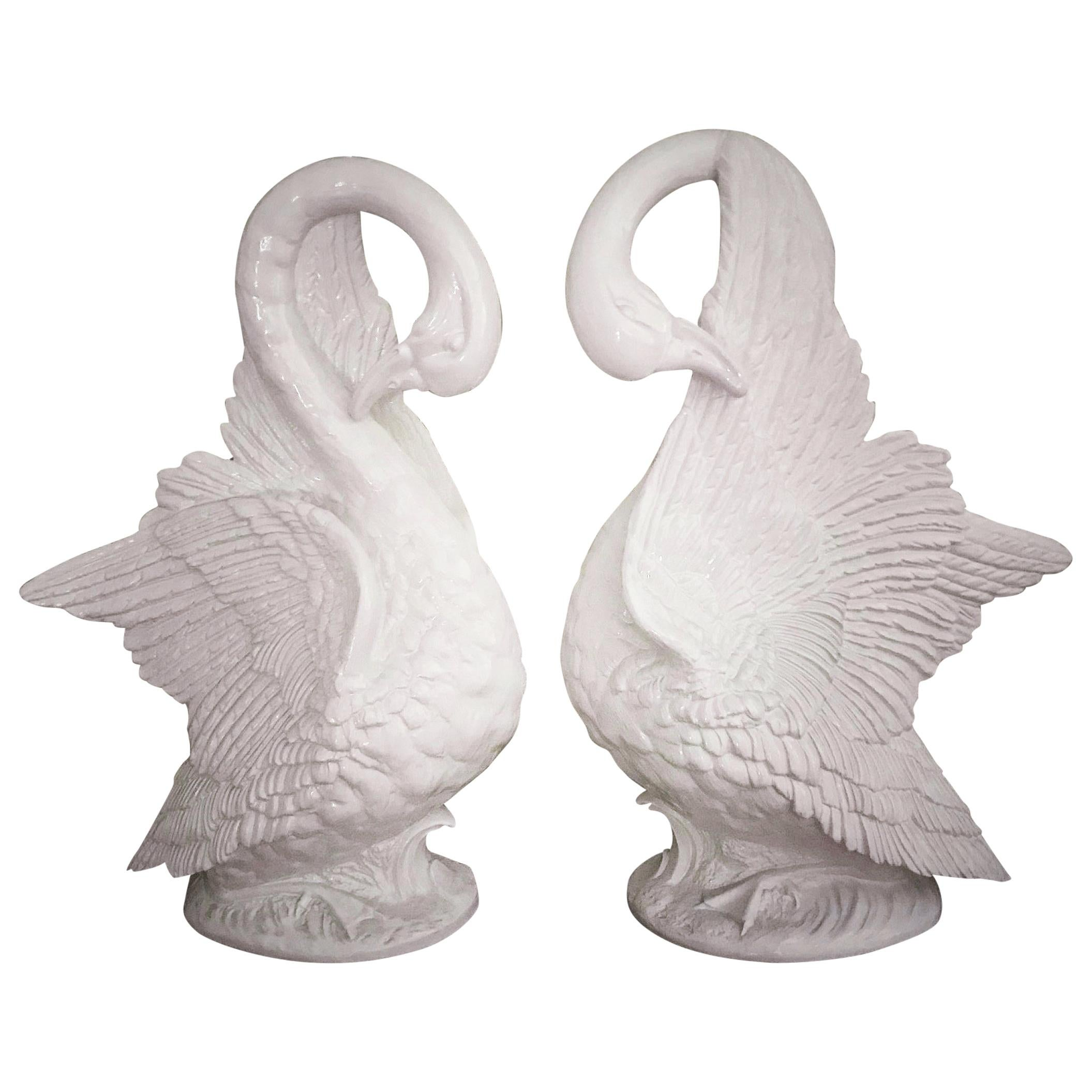 Life-Sized Pair of Swans Hollywood Regency Italian Ceramic Sculptures