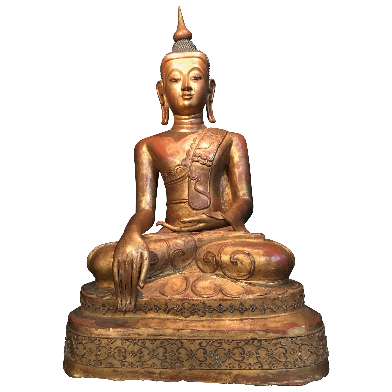 Life-Sized Shan Burmese Gilt Lacquer Papier Mâché Buddha, circa 1900