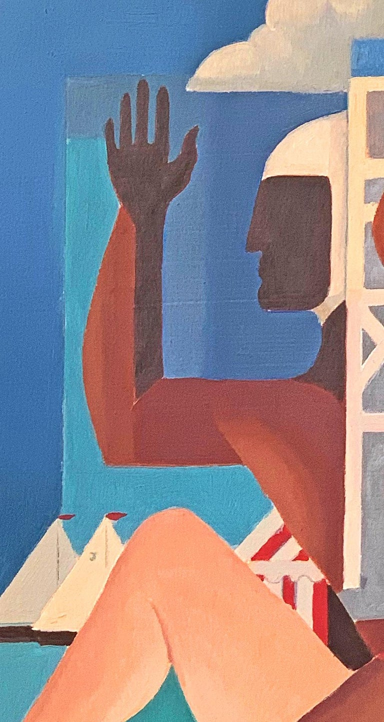 Reminiscent of the work of Gerald Murphy in its use of strong colors and flat, highly-stylized forms, this depiction of a lifeguard in profile, a female bather-cum-mermaid with a fashionable hat and starfish hands, and sailboats in the distance, is