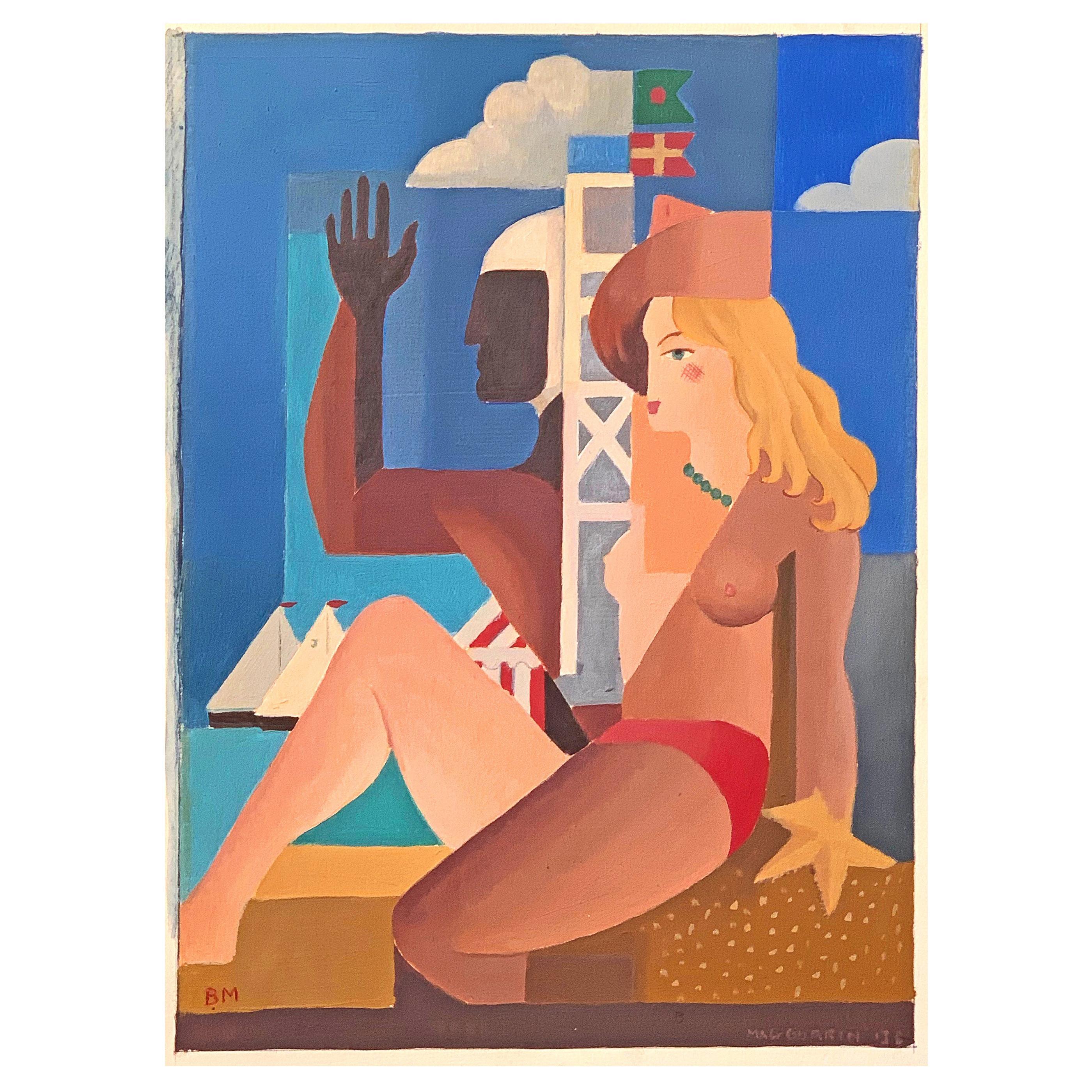 """Lifeguard and Bather,"" Stylized Art Deco Beach Scene by MacGurrin, 1938"