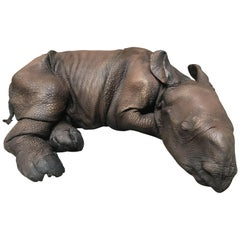 Lifelike Replica of a Rhino Calf