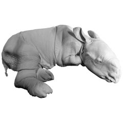 Lifelike White Replica of a Rhino Calf