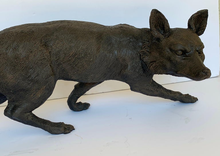 Cast Life-Size Bronze Sculpture of a Walking Fox, Foundry Marked and Artist Signed