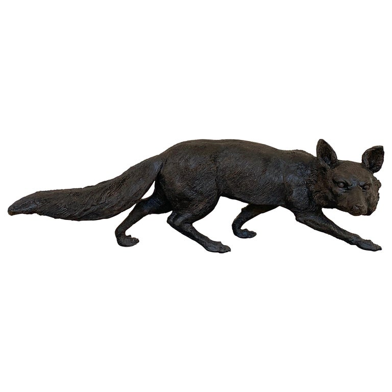 Life-Size Bronze Sculpture of a Walking Fox, Foundry Marked and Artist Signed