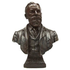 Life-Size Bronzed Presidential Plaster Bust of 20th Century Edwardian Gentleman
