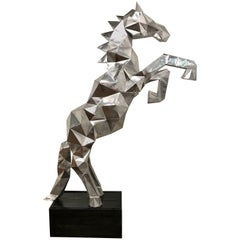 Lifesize Cubist Rearing Horse Sculpture, in the Style of Ben Foster