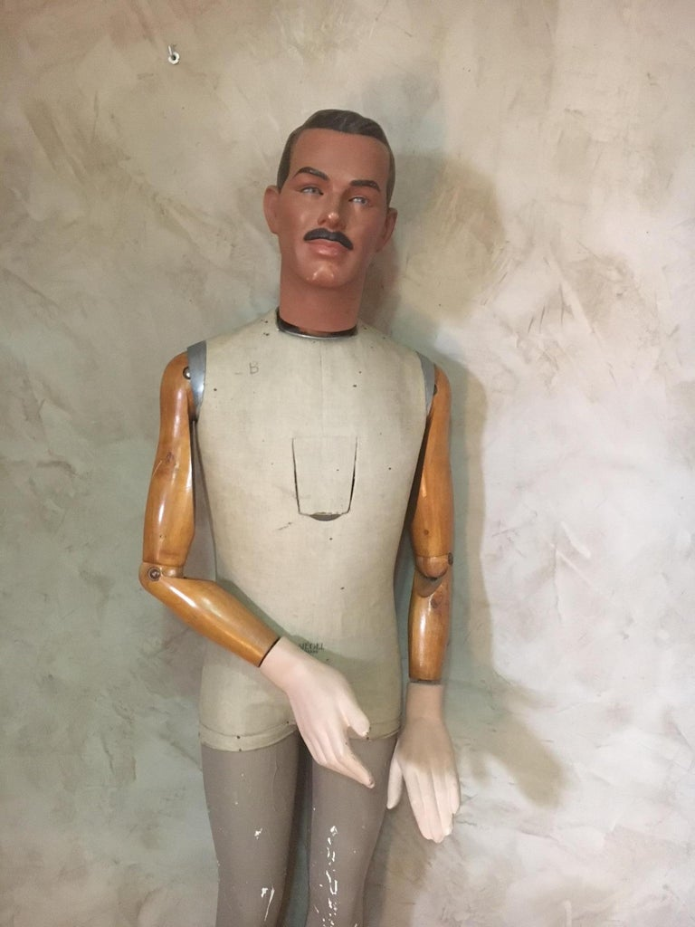 Very rare and beautiful lifesize French Siegel plaster mannequin from the 1930s.