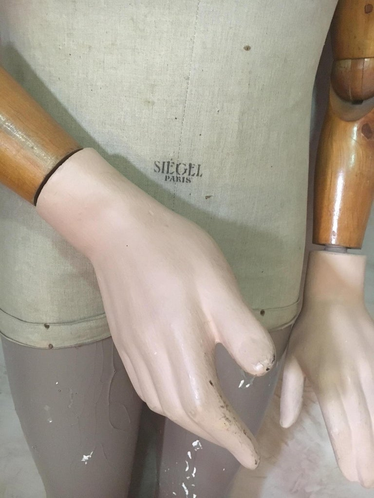 Painted Lifesize French Siegel  Paris Plaster Mannequin, 1930s For Sale