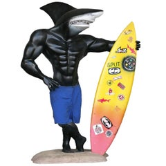 Lifesize Maui and Sons Sharkman Shark Surfer With Surfboard, circa 1990