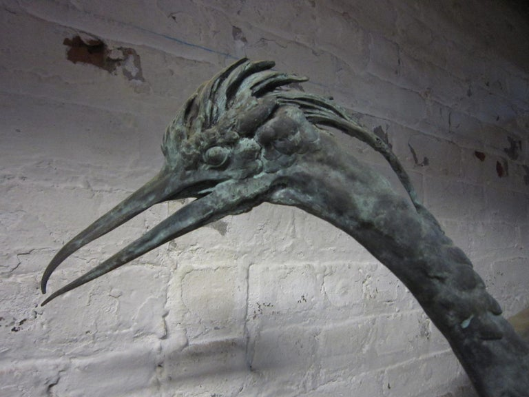Lifesize Pair of Original French Bronze Sculptures of Herons- Moigniez For Sale 10