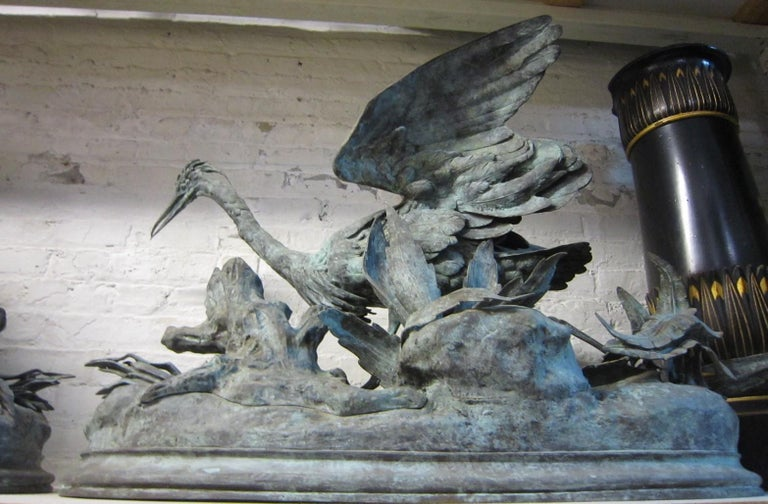 Lifesize Pair of Original French Bronze Sculptures of Herons- Moigniez In Good Condition For Sale In New York City, NY
