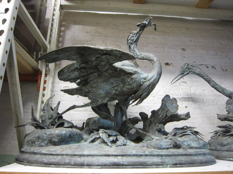 19th Century Lifesize Pair of Original French Bronze Sculptures of Herons- Moigniez For Sale