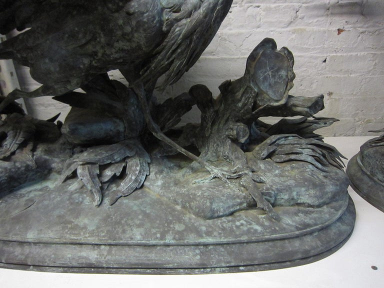 Lifesize Pair of Original French Bronze Sculptures of Herons- Moigniez For Sale 1