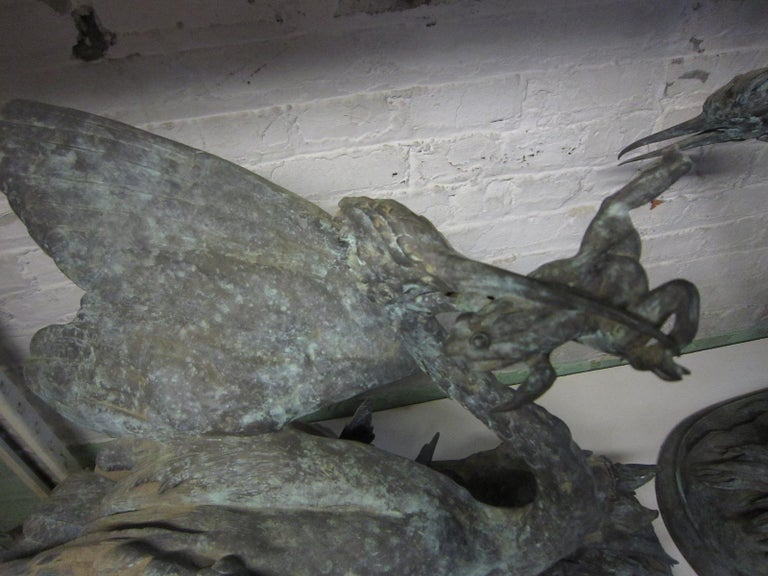 Lifesize Pair of Original French Bronze Sculptures of Herons- Moigniez For Sale 4
