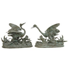 Lifesize Pair of Original French Bronze Sculptures of Herons- Moigniez
