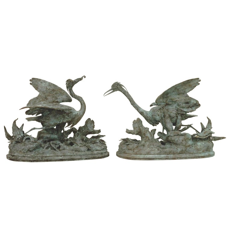 Lifesize Pair of Original French Bronze Sculptures of Herons- Moigniez For Sale
