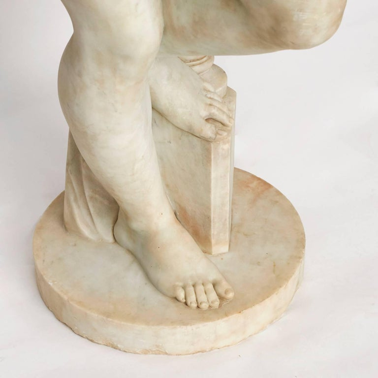 Italian Lifesize Sculpture of Venus in White Statuary Marble, circa 1860s For Sale