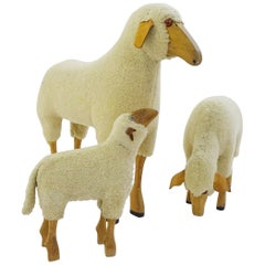 Lifesize Sheep in the Style of Kraft and Meier, Set of Three, Germany, 1960s