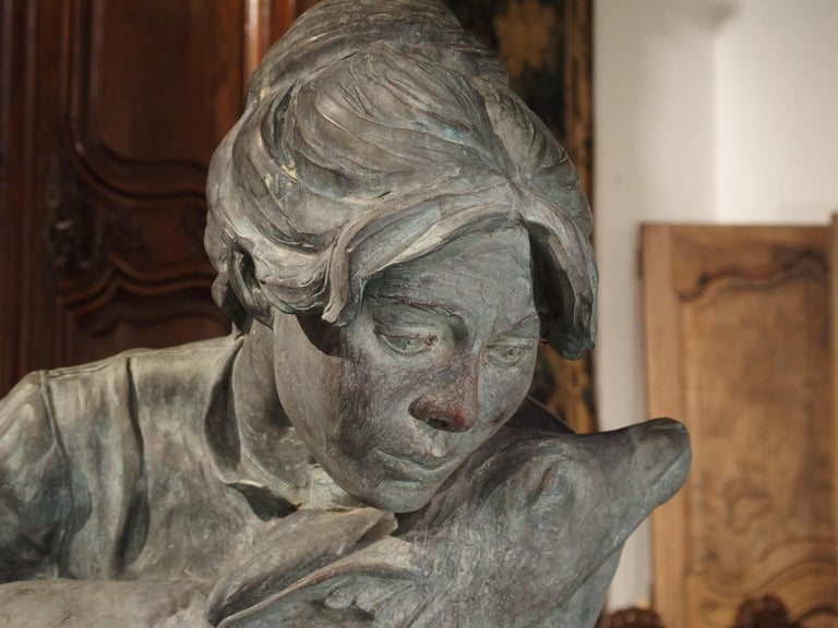 Late 20th Century Life-Size Veryl Goodnight Bronze Sculpture-Woman and Orphaned Deer 'Number 1' For Sale
