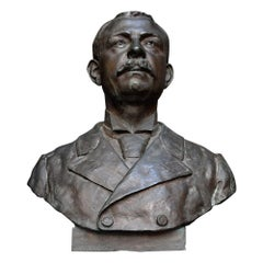 Lifesized Solid Bronze Bust of a Gentleman Signed Emile Daviol, circa 1894