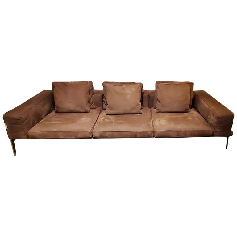 Lifesteel Brown Leather Sofa, by Antonio Citterio from Flexform For Sale