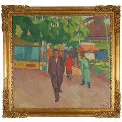Lifestyle Painting by Wilhelm Wils with Original Frame, 1949