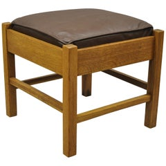 Lifetime Furniture 403 Mission Oak Arts & Crafts Leather Ottoman Stool Footstool