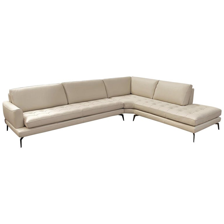 Lifetime Leather Light Soft Grey Sectional Chaise Tufting Tone on Tone Stitching For Sale