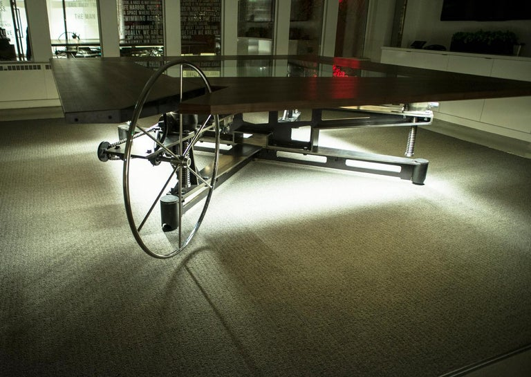 Lift Table, Steel, Glass, Wood, Lighting, Elevate, Ships Wheel, Custom, Semigood For Sale 4