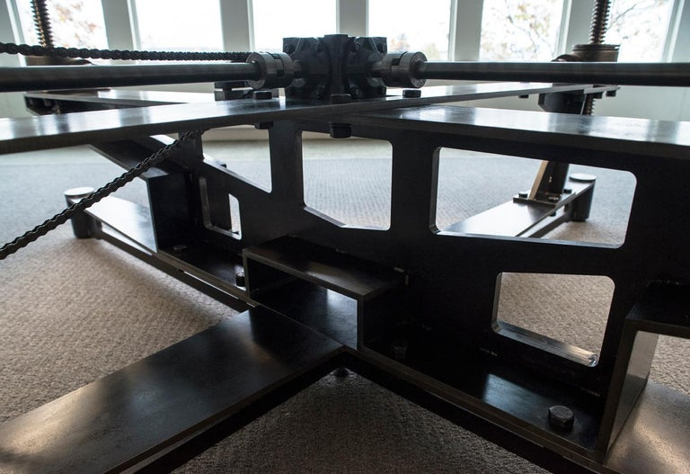 Lift Table, Steel, Glass, Wood, Lighting, Elevate, Ships Wheel, Custom, Semigood For Sale 10