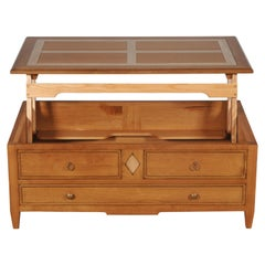 Liftable Coffee Table for TV Dîners in Solid Oak, Storage Box for Bottles
