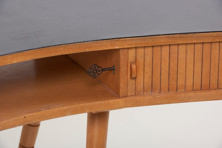German Light 1950s Ladies Desk or Vanity with Tambour Door Attributed to Eduard Ludwig For Sale