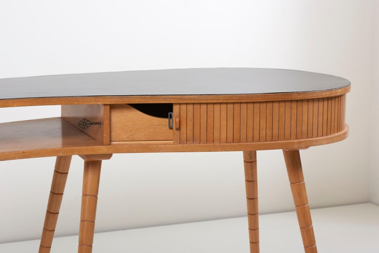 Mid-20th Century Light 1950s Ladies Desk or Vanity with Tambour Door Attributed to Eduard Ludwig For Sale