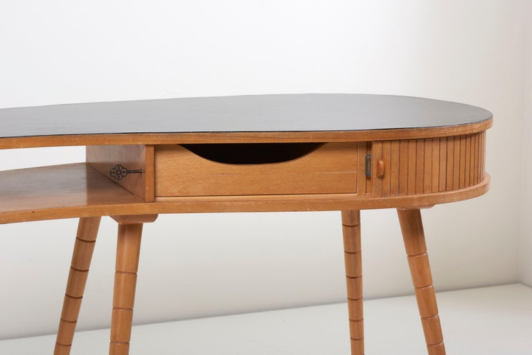 Cherry Light 1950s Ladies Desk or Vanity with Tambour Door Attributed to Eduard Ludwig For Sale