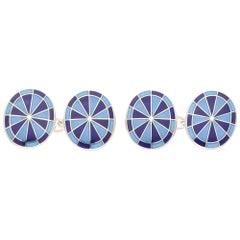 Light and Dark Blue Enamel Compass Chain Cufflinks Set in Sterling Silver