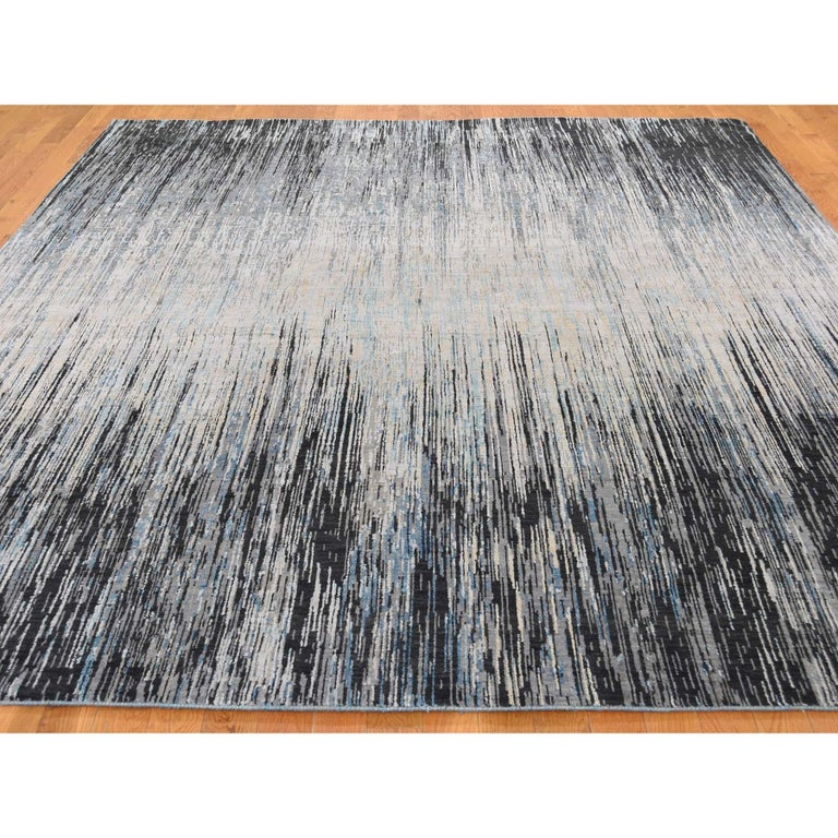 American Empire Light And Dark Ombre Design Pure Wool Hand Knotted Oriental Rug For Sale