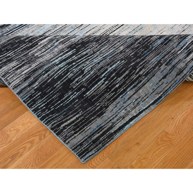 Contemporary Light And Dark Ombre Design Pure Wool Hand Knotted Oriental Rug For Sale