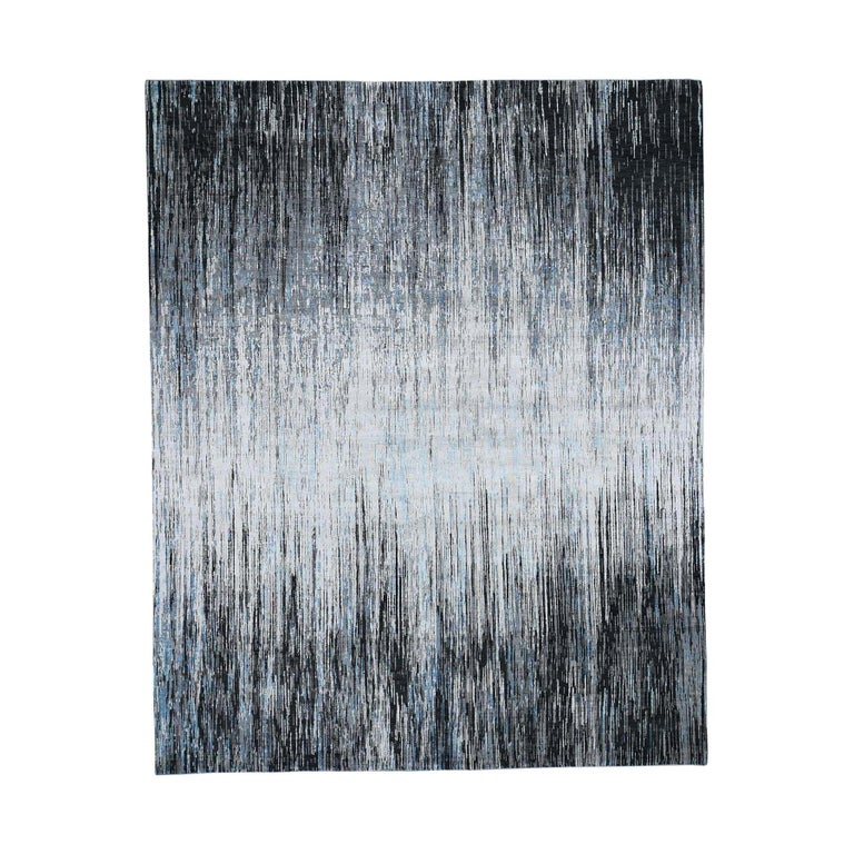 Light And Dark Ombre Design Pure Wool Hand Knotted Oriental Rug For Sale