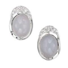Light Blue 4.00 Carat Chalcedony White Gold Diamond Earrings