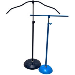 Light Blue and Dark Blue Mid-Century Modern Chrome Necklace and Jewelry Stands