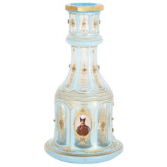 Light Blue and Gilded Bohemian Glass Huqqa Base
