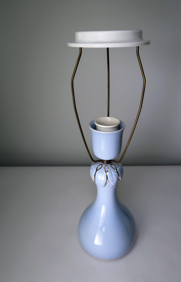 Mid-Century Modern Light Blue and Gold 1950s Porcelain Table Lamp by Danish Søholm Keramik For Sale