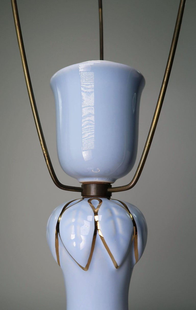 Faience Light Blue and Gold 1950s Porcelain Table Lamp by Danish Søholm Keramik For Sale