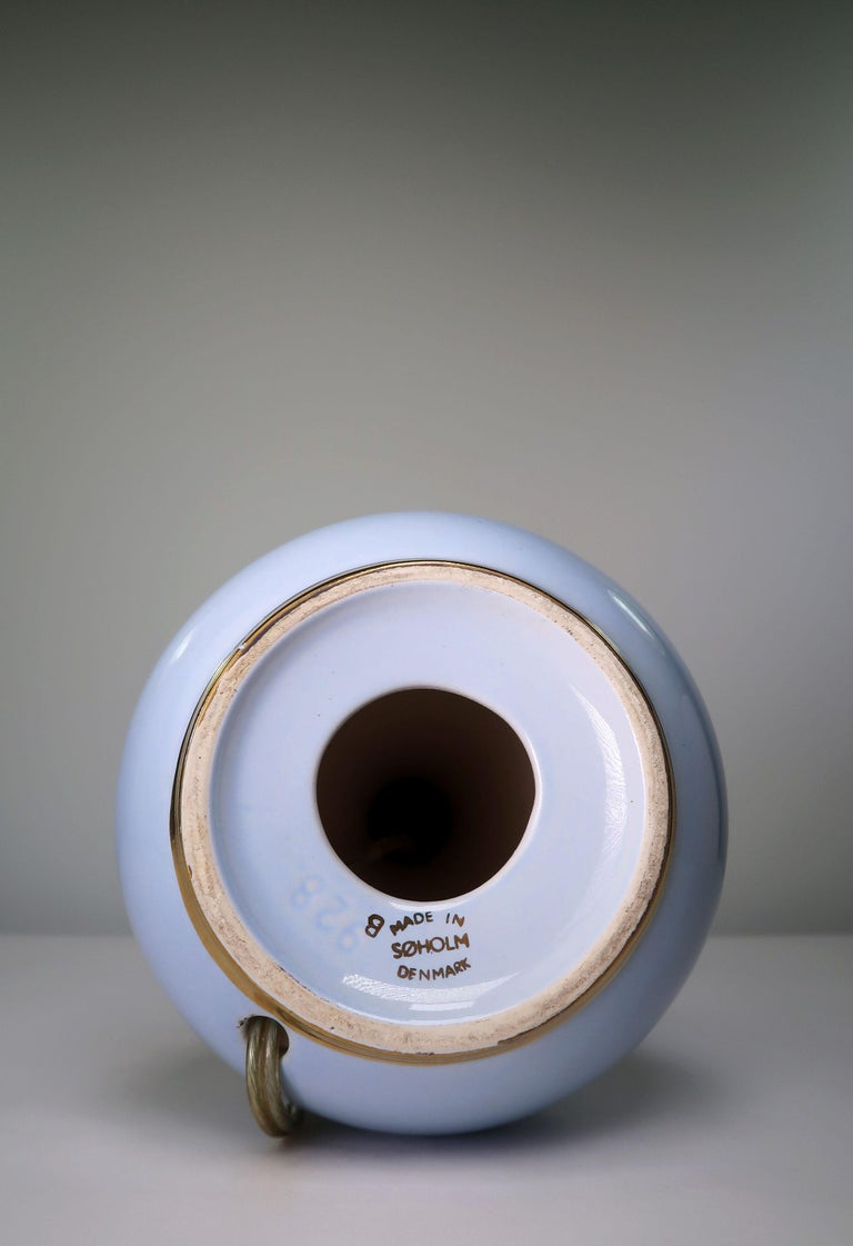 Light Blue and Gold 1950s Porcelain Table Lamp by Danish Søholm Keramik For Sale 2