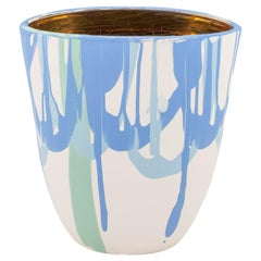 Light Blue and Gold Vase