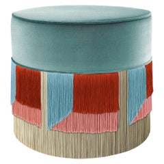 Light Blue and Red Couture Geometric Flo Pouf