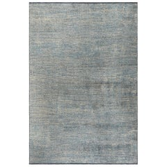 Light Blue and Silver Gray Tight Grid Abstract-Geo Pattern Rug with Patina